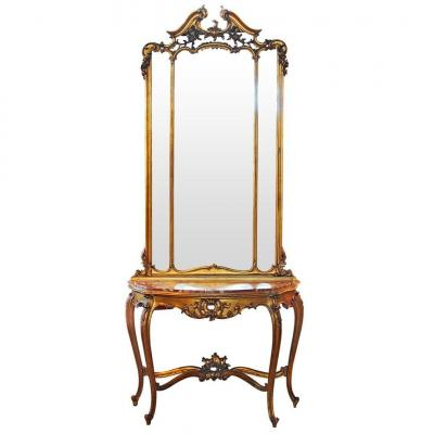 Louis XV Style Wooden Carved And Gilded Console With Mirror