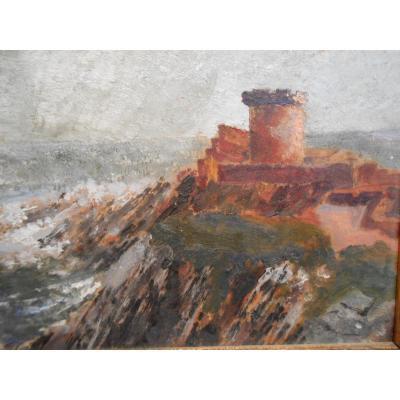 Huile Sur Carton, Fort de Socoa, Début XXème