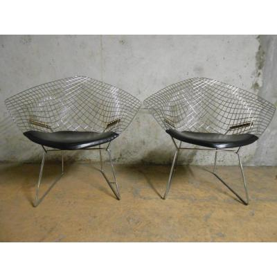 Paire de fauteuils Diamond de Harry Bertoia pour KNOLL