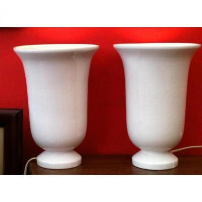 Une Paire de Vases de Ciboure montée en lampe