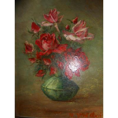 Huile sur carton représentant un bouquet de fleurs