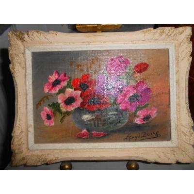 Petite Peinture Au Bouquet d'Anémones