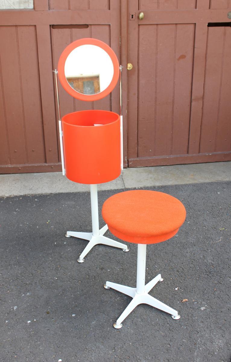 Coiffeuse Orange 1970 Avec Son Tabouret