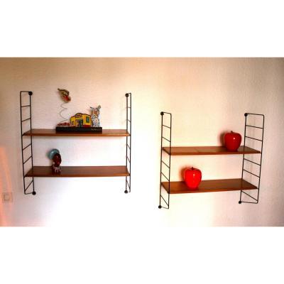 Belle Paire d'étagère Tomado String , Vintage 1950-60