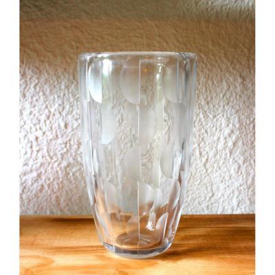 """Grand vase Art Déco en cristal de """" SCHNEIDER """""""