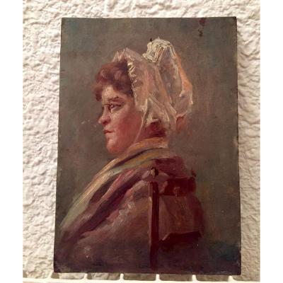 Portrait Huile sur Panneau XIXeme Siecle