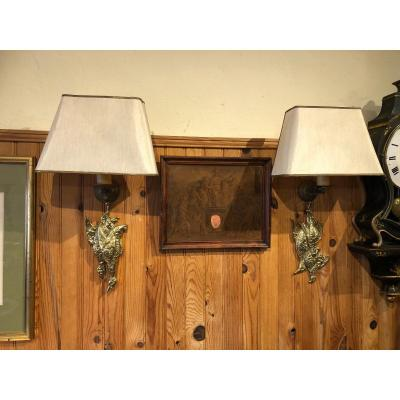 Pair Of Hunting Trophy Wall Lights