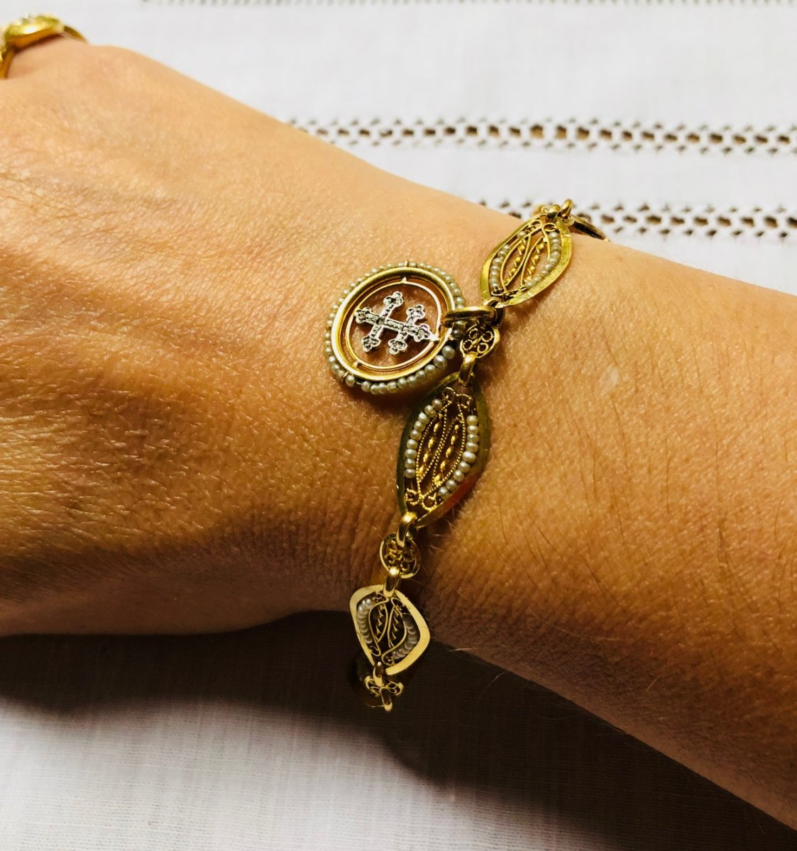 Bracelet XIX Eme Perles Fines Et Or