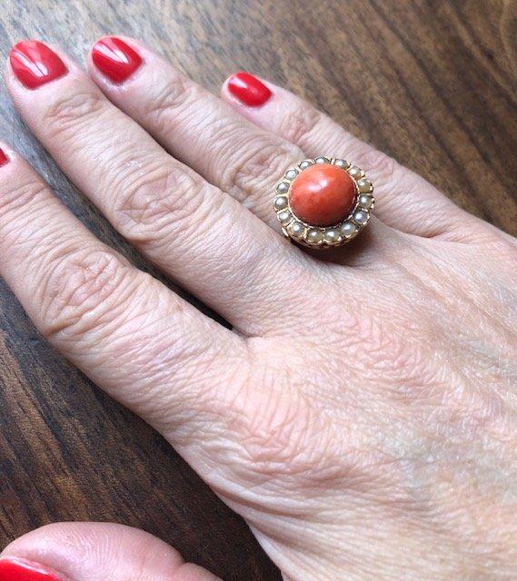 Bague Corail Et Perles