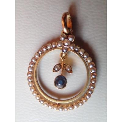 Pendentif Perles Et Saphir