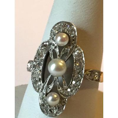 Bague Art Deco perles et diamants