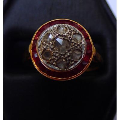 Bague 1930 Diamants Rubis Calibrés
