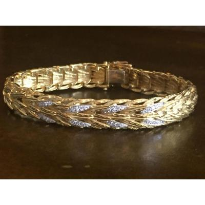 Bracelet Feuillages Or Jaune Et Diamants