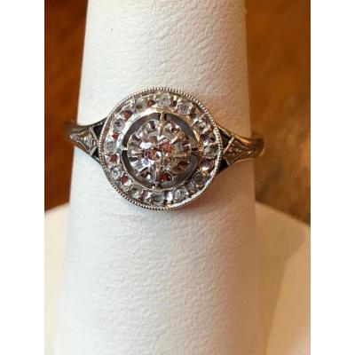 Bague Rosace En Diamants