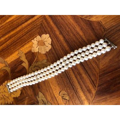 Bracelet Trois Rangs De Perles