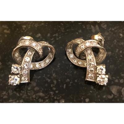 Paire De Boucles  Diamants des années 1950