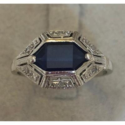 Art Deco Ring Gold Gray And Platinum
