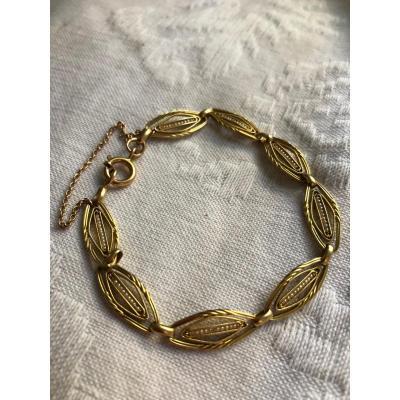 Bracelet XIX Eme Or Jaune Et Perles Fines
