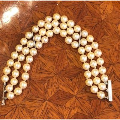 Bracelet Manchette Trois Rangs De Perles