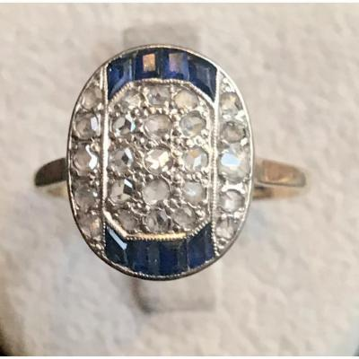 Bague 1920 Pavage Diamants Et Saphirs