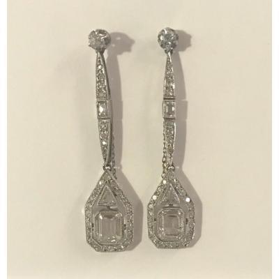 Paire De Pendants d'Oreilles Art Déco Diamants