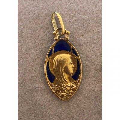 Médaille De La Vierge Signée Mazzoni, époque Art Déco