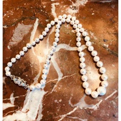 Tour De Cou  Perles Blanches Fermoir Art Déco