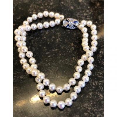 Bracelet Perles Blanches Et Fermoir Art Déco