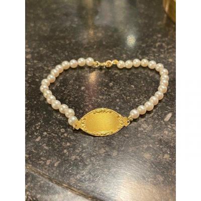 Bracelet d'Identite Or Et Perles