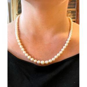 Collier De Perles Blanches Et Diamants,  Art Déco