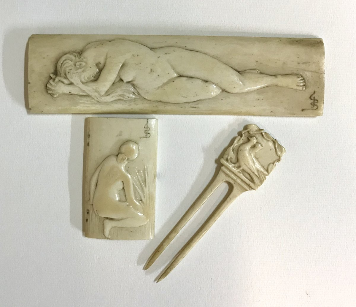 Art Nouveau Hairpin And 2 Low Reliefs Bone Carved Decor From Nude Women Circa1890 Teeth Bone Ivory