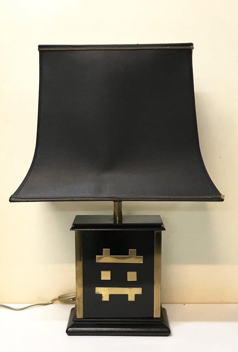 20th Century Design. Jansen House. Modernist Lamp In Gilded Metal, Black Lacquered And Wood. Circa 60/70.-photo-1