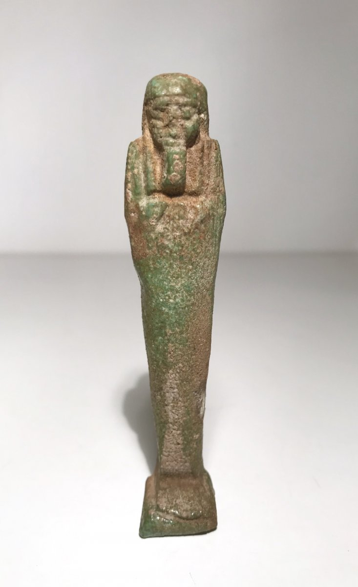 Ancient Egypt / Low Period / 664-332 Bc / Oushebti Anepigrapher In Green Earthenware