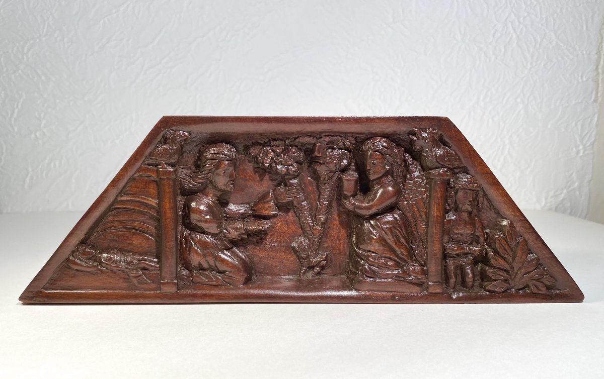 XIXth / Flanders. Bas-relief In Cherry Wood Carved From Biblical Scenes Of Christ. Sign.