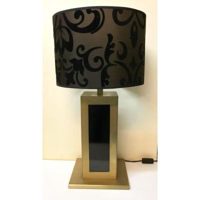 20th Century Design. Willy Rizzo. Modernist Lamp In Golden Brushed Metal And Black Resin. Circa 1970