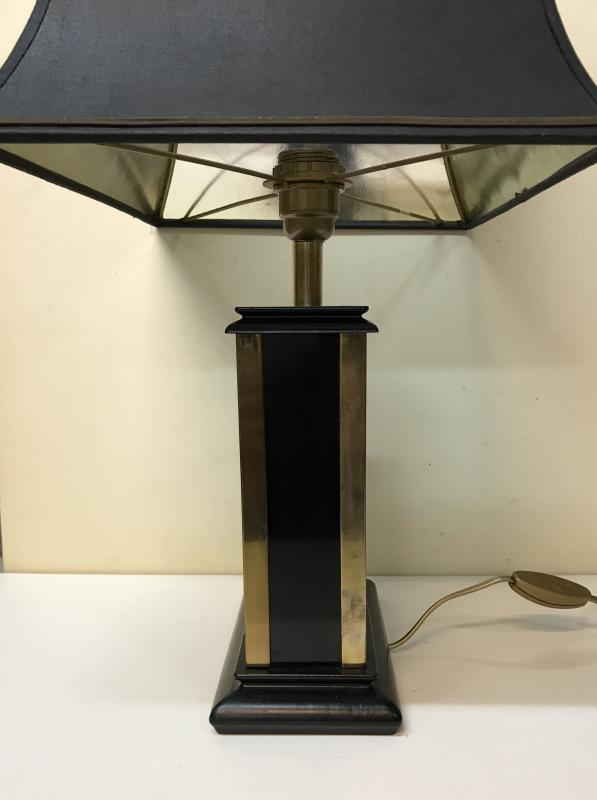 20th Century Design. Jansen House. Modernist Lamp In Gilded Metal, Black Lacquered And Wood. Circa 60/70.-photo-3
