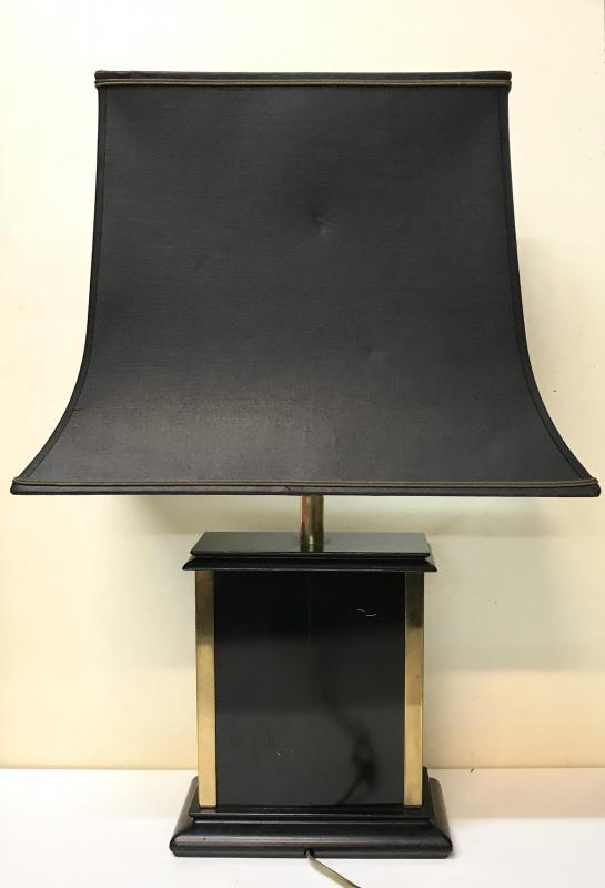20th Century Design. Jansen House. Modernist Lamp In Gilded Metal, Black Lacquered And Wood. Circa 60/70.-photo-4