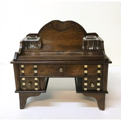 Art-deco Period. Inkwell In Rosewood And Ivory Inlays Containing A Desk. Ca 1930