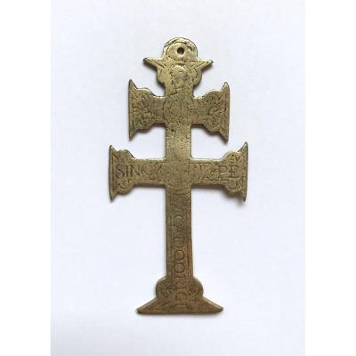 17th / 18th. Spain. Cross Cross Double Traverse Gilt Bronze And Engraved, To The Virgin.