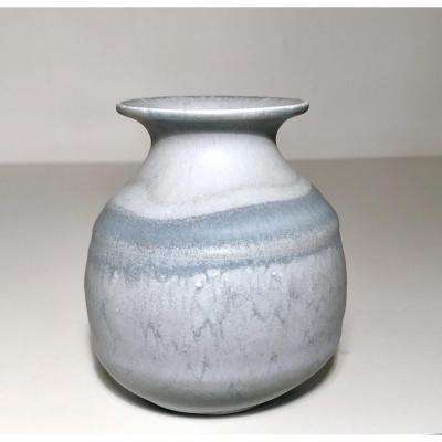 Mado Jolain / Design, Ceramic Twentieth / Vase Ball Flared Collar Porcelain Stoneware. Circa 50/60