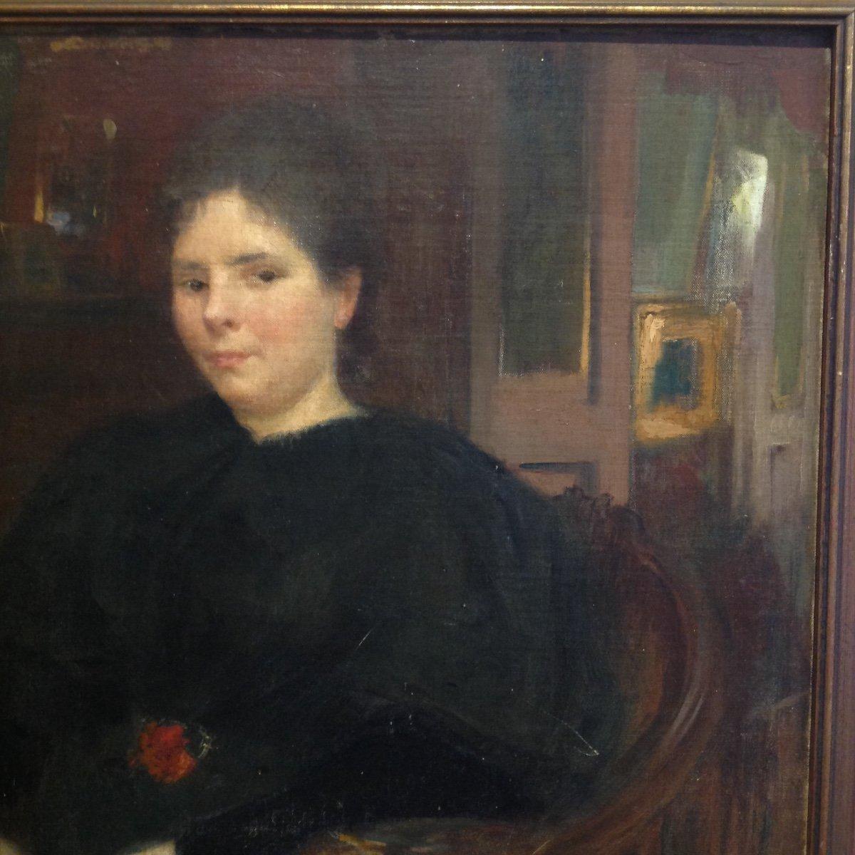 Georges Picard. Portrait De Femme Dans Un Intérieur.-photo-2