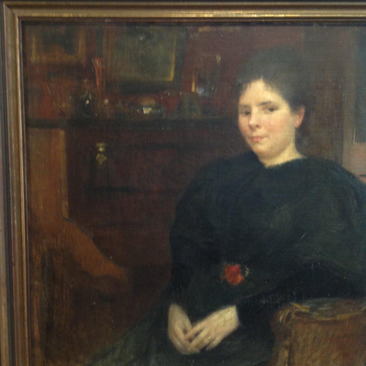 Georges Picard. Portrait De Femme Dans Un Intérieur.-photo-3