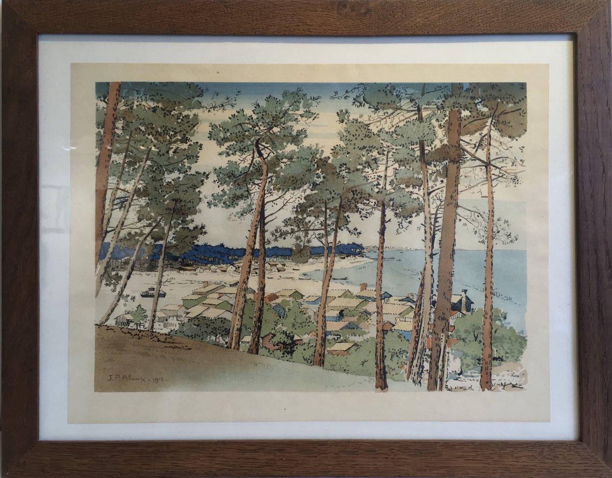 """Jean Paul Alaux. """"le village à marée basse"""", estampe, 1920. Album """"les visions japonaises. éditions Devambez."""