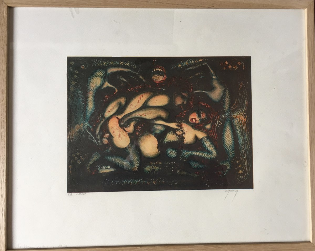 Pierre Molinier Erotic Lithograph, Signed,