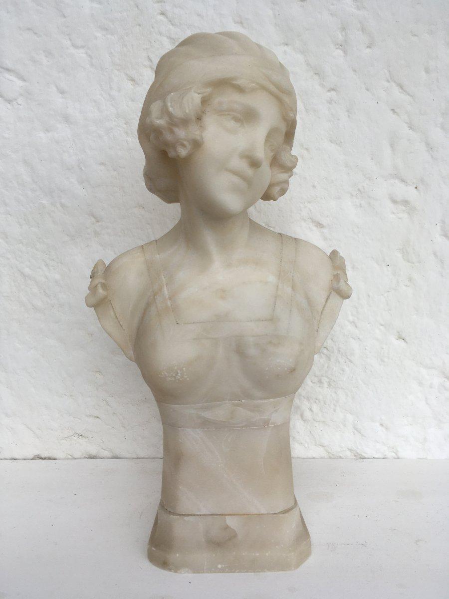 Sculpture 1900, Art Nouveau, Italie En Albâtre , Signée Nardoni Burgi ?