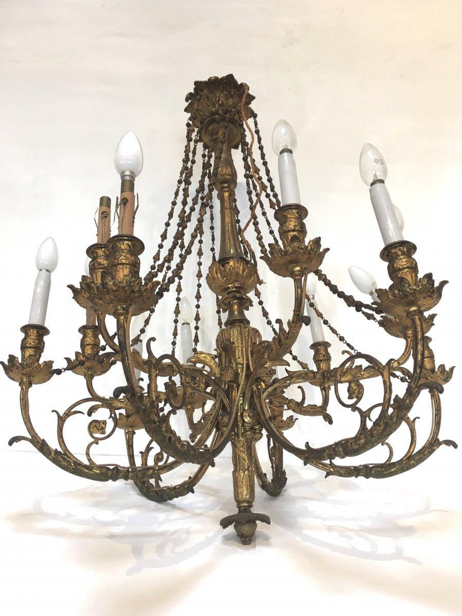 Important Chandelier In Gilt Bronze Napoleon III Louis XVI Style