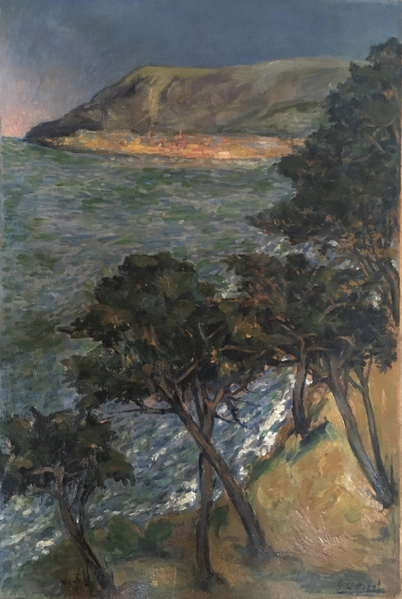Eugène Léon l' Hoest. Huile Sur Panneau, Vue De La Mer Méditerranée. 1920. Beau Format.