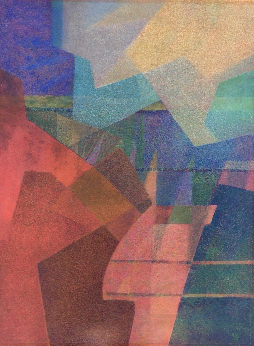 Yves Mafli Born In 1949, Grasse Chalk On Paper, Mountain Landscape, Lausanne Switzerland.