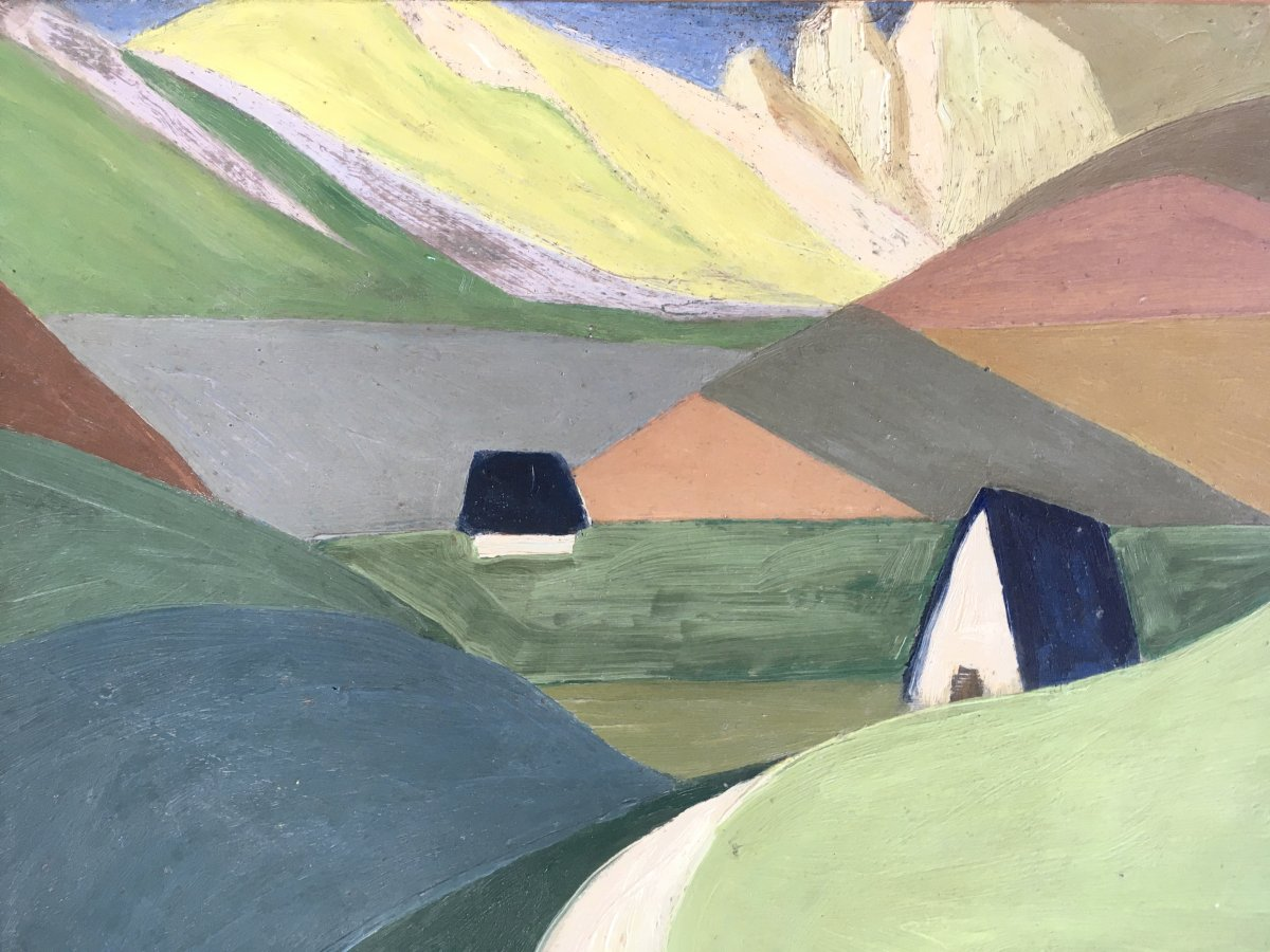 Marcel Legrand. Huile Sur Carton. Paysage De Montagne, Les Pyrénées Vers 1930-photo-2