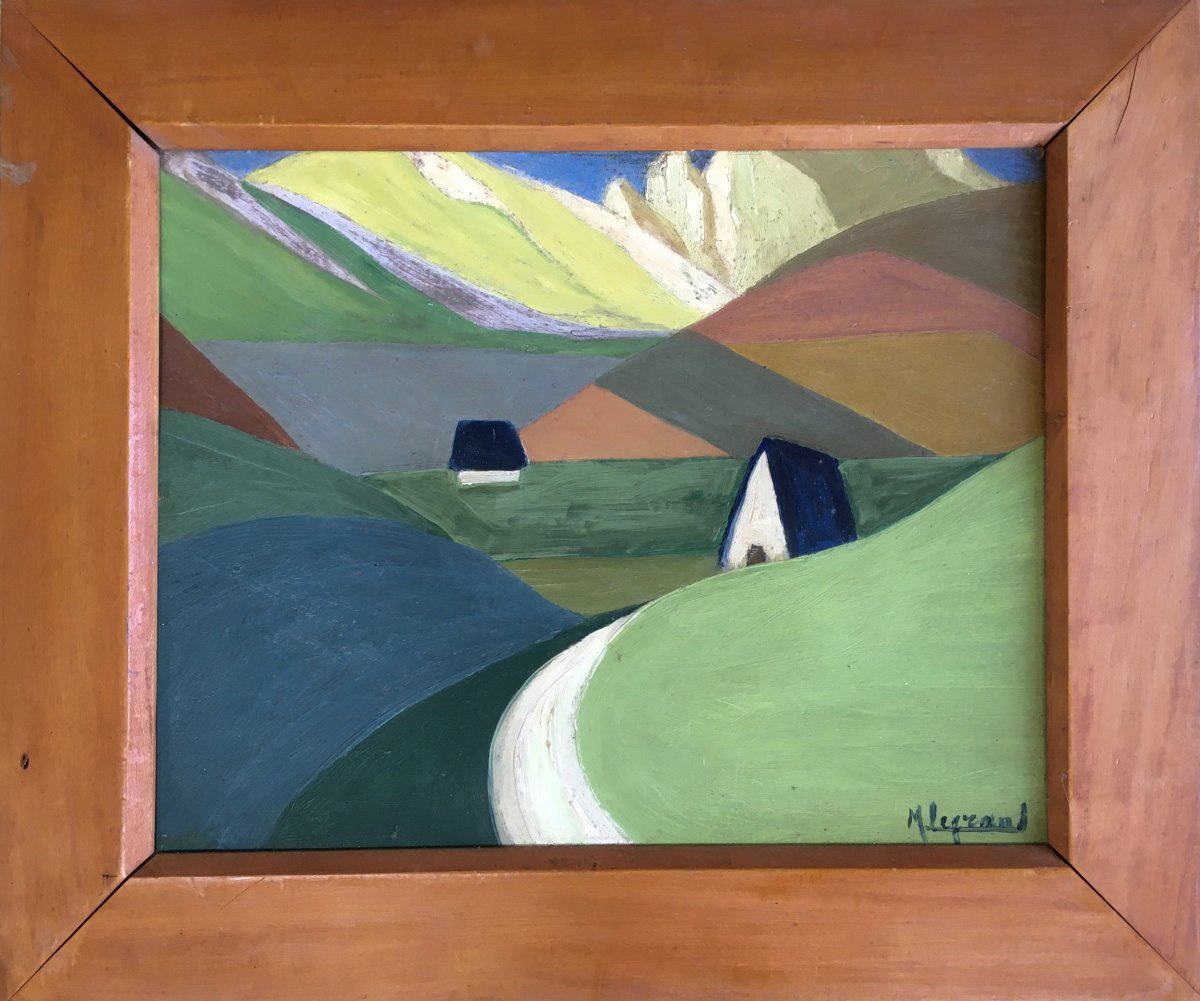 Marcel Legrand. Oil On Cardboard. Mountain Landscape, The Pyrenees Around 1930
